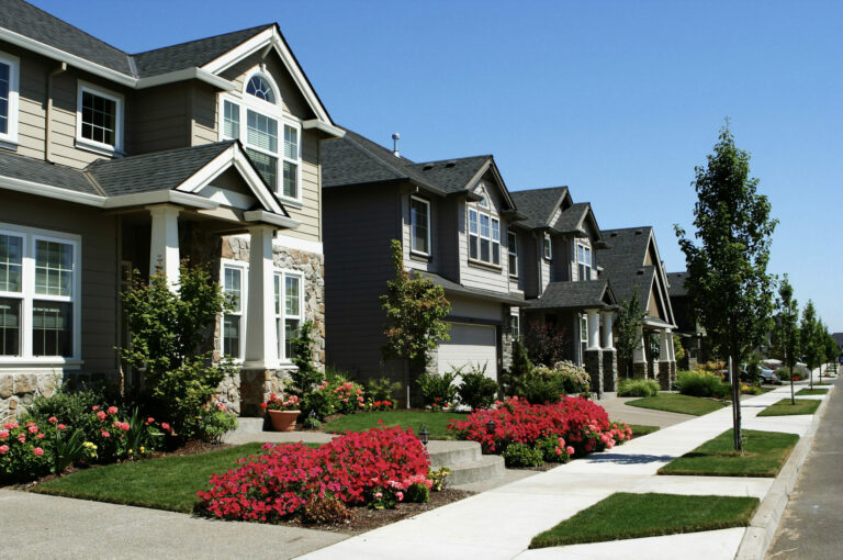 Bright sunny day on a beautiful subdivision street with large homes, landscaping, red and pink flowers
