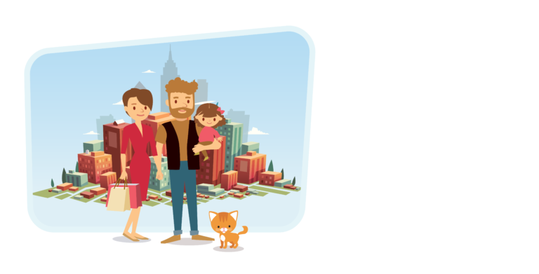 'Your Perfect Life' marketing image, couple with young daughter and a cat in front of city skyline