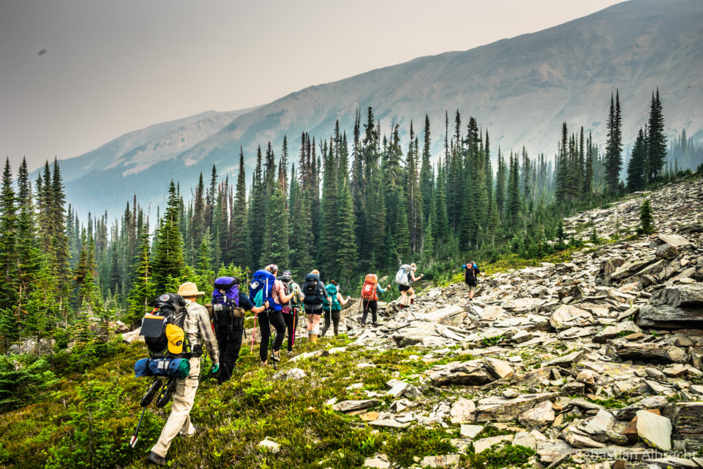 Royal LePage trekkers hiking the Purcell Mountains in British Columbia (photo credit: Sebastian Albrecht)